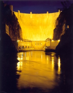A downriver view of the face of Hoover dam taken in the late evening hours