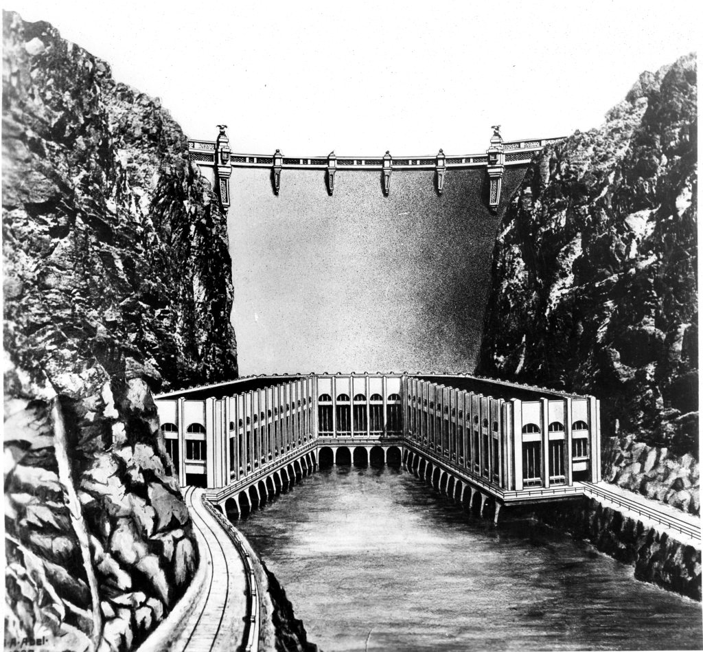 Pre-construction Bureau of Reclamation conception of the dam.